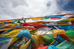 Pray flags in Tibet Royalty Free Stock Photo