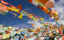 Pray flags weaving against blue sky Stock Images