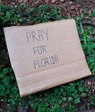 Pray for Florida written in a card Royalty Free Stock Photo