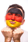 Pray for Germany. Face portrait German football fan pray for national team Royalty Free Stock Photo