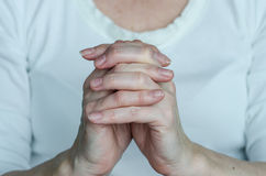 Pray gesture. Hands with pray gesture on white Stock Photos