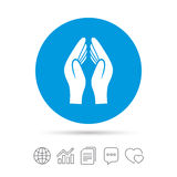 Pray hands sign icon. Religion priest symbol. Stock Images