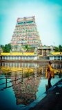 Pray in the Hindu Temple Chidambaram South South India Gopuram and reflection in water Stock Images