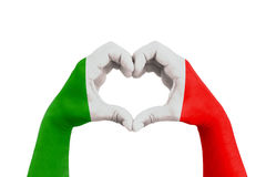 Pray for italy, man hands in the form of heart with the flag of italy on the white background, concept for hope and helpful suppor Stock Photos