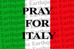 PRAY FOR ITALY, text on the wallpaper Italy national flag Stock Photo