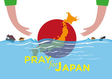 Pray for Japan Natural Disaster flood and tsunami concept. Vector and Jpg of Japan Natural Disaster like tsunami, flood and typhoon or storm. Hands extending vector illustration