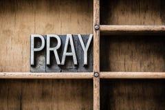 Pray Letterpress Concept Royalty Free Stock Photos