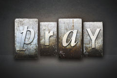 Pray Letterpress Stock Images