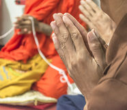 Pray, the monks. The monks  praying and religious rituals in thai ceremony Stock Photography