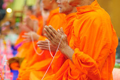 Pray, the monks and religious rituals in thai ceremony. Pray, Put the palms of the hands together in salute , monks, Thailand Royalty Free Stock Photos
