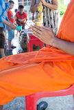 Pray, the monks and religious rituals in thai ceremony Stock Photos