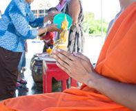 Pray, the monks and religious rituals in thai ceremony Stock Photography