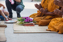 Pray, the monks and religious rituals in thai ceremony Royalty Free Stock Photos