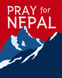 Pray for Nepal. Earthquake crisis concept showing Mt. Everest and the Himalaya mountain range Royalty Free Stock Image