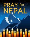Pray for Nepal with Mt. Everest and candles. Stock Photos