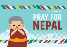 Pray for nepal poster concept Royalty Free Stock Photo