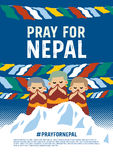 Pray for nepal poster concept Royalty Free Stock Image