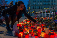 Pray for Orlando. BERLIN - JUNE 20, 2016: Pray for Orlando. Candles in memory of the victims of the shooting at the club Pulse in Orlando, near the US Embassy on Royalty Free Stock Image