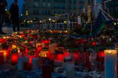 Pray for Orlando. BERLIN - JUNE 20, 2016: Pray for Orlando. Candles in memory of the victims of the shooting at the club Pulse in Orlando, near the US Embassy on Royalty Free Stock Photo
