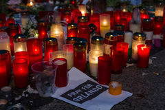 Pray for Orlando. BERLIN - JUNE 20, 2016: Pray for Orlando. Candles in memory of the victims of the shooting at the club Pulse in Orlando, near the US Embassy on Stock Photography