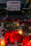 Pray for Orlando. BERLIN - JUNE 20, 2016: Pray for Orlando. Candles in memory of the victims of the shooting at the club Pulse in Orlando, near the US Embassy on Stock Photo