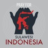 Pray for Palu Sulawesi Indonesia. royalty free illustration