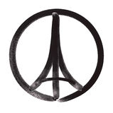 Pray for Paris – Illustration of a symbol with Praying hands, Eiffel Tower and symbol for peace Stock Photos