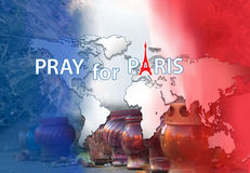 Pray for Paris. Abstract banner Stock Photography