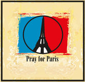 Pray For Paris - card Stock Photo