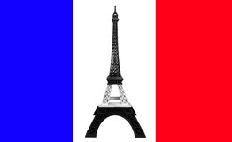 Pray for Paris Concept, Eiffel Tower Model in Monotone Black and White Stripe printed by 3D Printer on France Flag Royalty Free Stock Photo
