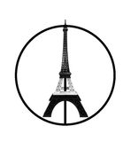 Pray for Paris Concept, Eiffel Tower Model in Monotone Black and White Stripe printed by 3D Printer in Peace Sign Isolated on Whit Royalty Free Stock Images