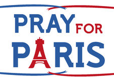 Pray for Paris Concept with Eiffel Tower and Ribbons. On White Background. jpg and vector royalty free illustration