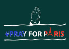 Pray for Paris concept. A praying hand and ribbons in a slogan Pray for Paris vector illustration