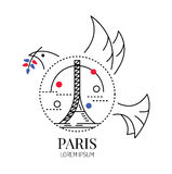 Pray for Paris.dove of peace with Eiffel tower Sign. Royalty Free Stock Images