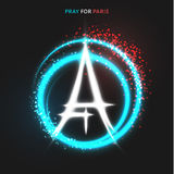 Pray for Paris. Peace. Lighting effects in flag colors Royalty Free Stock Images
