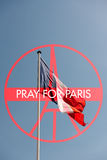 Pray for Paris sign. With France National Flag - France symbol significant death toll feared in Paris terror attacks Royalty Free Stock Photos