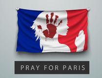 Pray for Paris terrorism attack, flag france Stock Photos