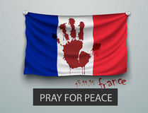 Pray for Paris terrorism attack, flag paris Royalty Free Stock Photos