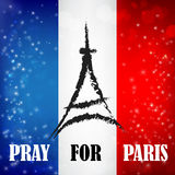 Pray for paris words with landmark symbol on france flag bokeh a Stock Image