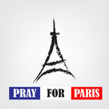 Pray for paris words with landmark symbol Stock Photography