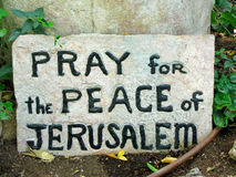 Pray for the Peace of Jerusaelm stock photo