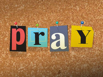 Pray Pinned Paper Concept Illustration Stock Images