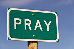 Pray Sign. Green and white sign for the town of Pray, Montana Stock Images