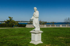 Pray for the Souls. Statue on Salve Regina University campus along Cliff Walk in Newport, RI asks for prayers Royalty Free Stock Image