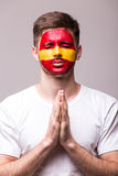 Pray of Spain. Spain football fan pray for game Spain national team Royalty Free Stock Photography