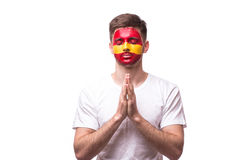 Pray of Spain. Spain football fan pray for game Spain national team Stock Image