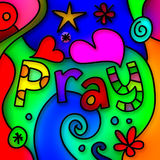 Pray Stained Glass Royalty Free Stock Photography