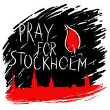 Pray for Stockholm. Phrase Pray for Stockholm, with stockholm skyline Royalty Free Stock Images