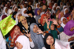 Pray. Thousands of Muslims pray in Solo, Central Java, Indonesia Stock Photography