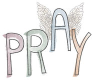 Pray Typography Watercolor phrase Religious Word with Wings. The word PRAY in watercolor with the A flying up to heaven with angel wings attached Stock Photo